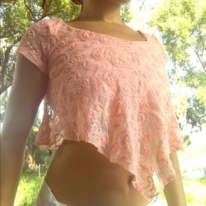Charlotte Russe Med Paisley Lace Crop Top